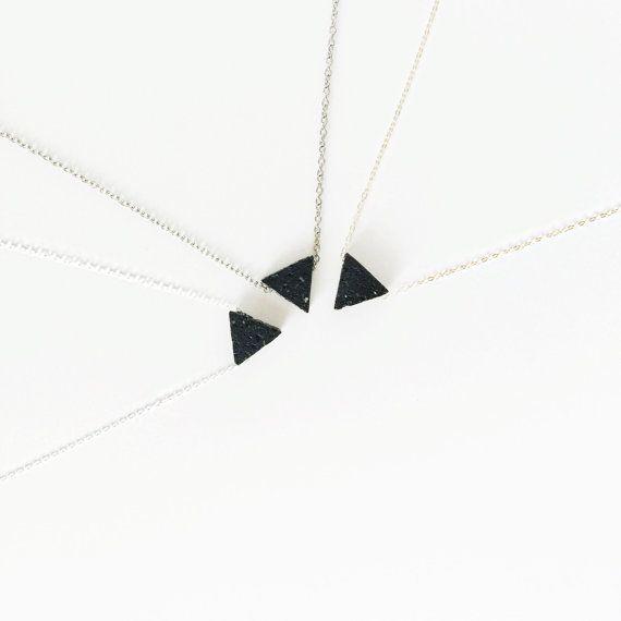Lava Triangle • Minimalist Triangle Lava Bead Diffuser Necklace - Dainty 14K Gold Filled, Silver - Essential Oil Necklace Diffuser