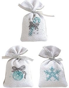 Christmas Gift Bag Cross Stitch Kits - Silver/Blue, Set of 3