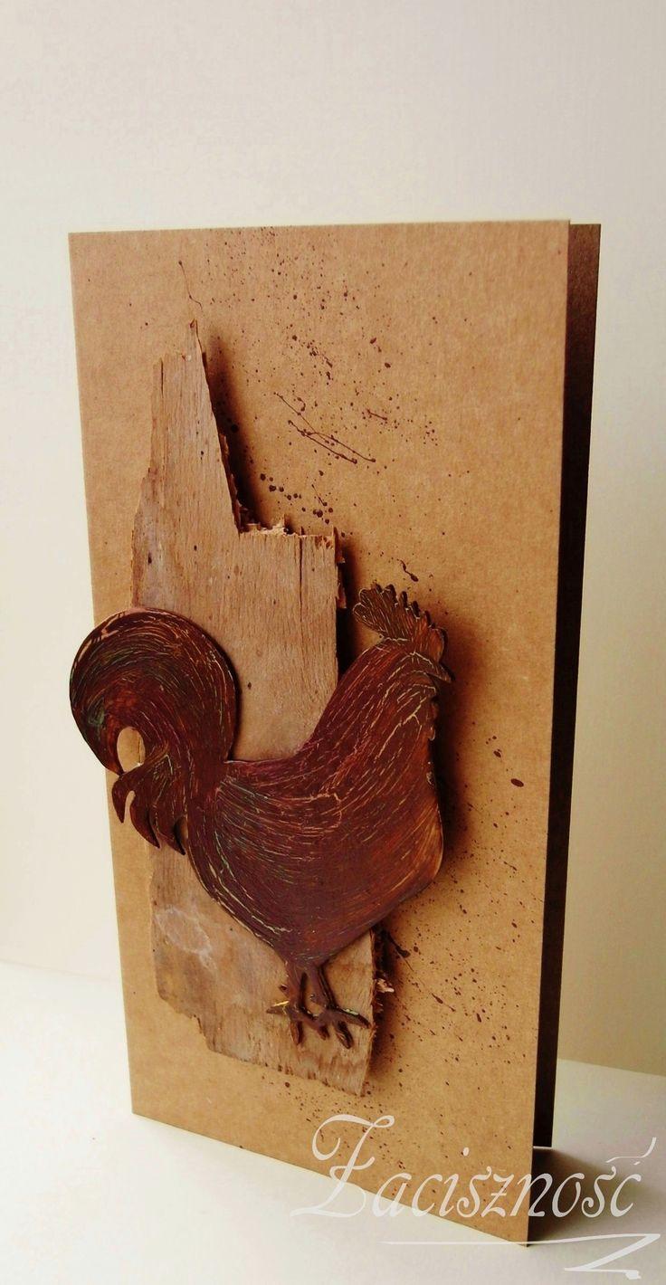 Ręcznie robiona kartka wielkanocna z kogutem/ Handmade Easter card with rooster