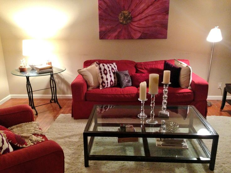 Red sofas in living room vibrant red sofas hgtv thesofa for Red couch living room