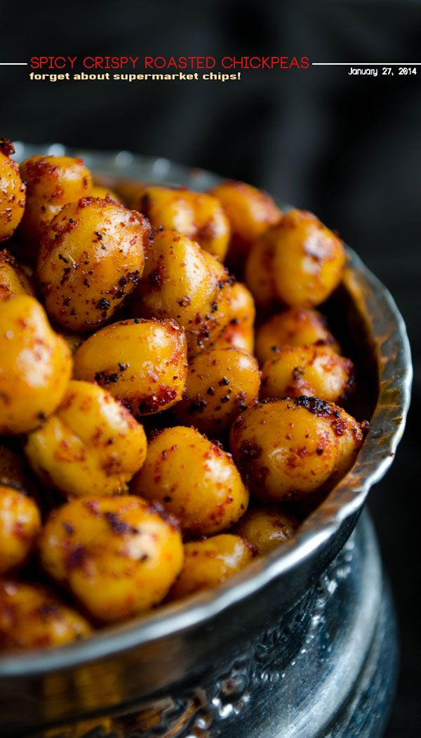 Spicy Crispy Roasted Chickpeas. You can't believe how crispy these are! These are so addictive and easy to make!   giverecipe.com   #chickpeas #snack #appetizer #spicy