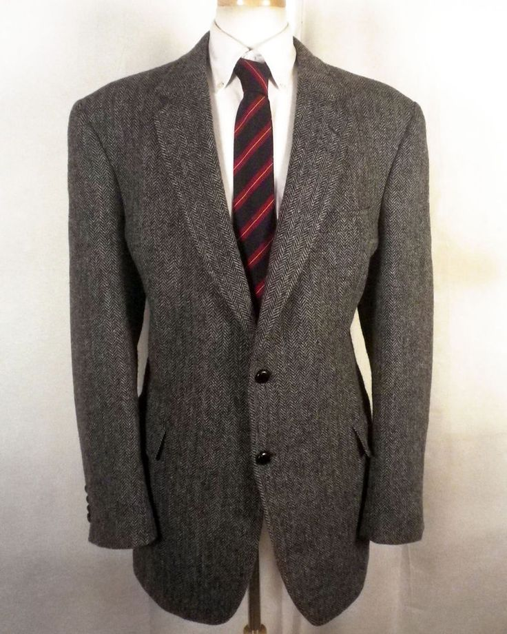 euc Jos A Bank gray Harris Tweed Herringbone Blazer Sportcoat big man 46 XL #JosABankHarrisTweed #TwoButton