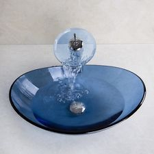 Italy Victory Vessel Blue Moon Washbasin Tempered Glass Sink Brass Faucet PP0926