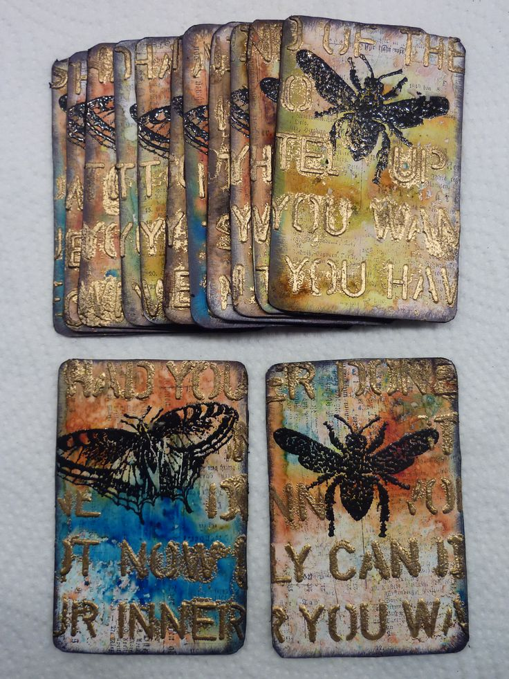 Elly Pirally mixed media playing cards