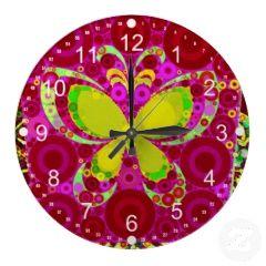 Colorful Girly Butterfly Circle Mosaic Pink Yellow Clocks #wallclocks #zazzle #prettypatterngifts #homedecor #clocks