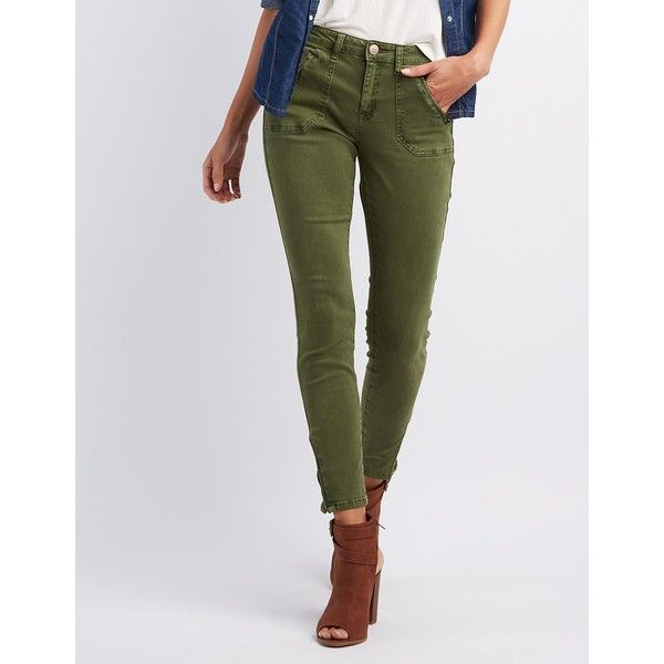 Refuge Skinny Cargo Pants ($35) ❤ liked on Polyvore featuring pants, olive, - The 25+ Best Green Skinny Jeans Ideas On Pinterest
