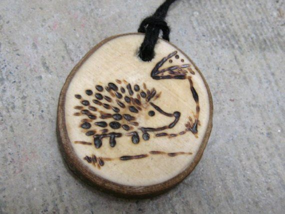 Natural wood pendant - Hedgehog and Mushroom