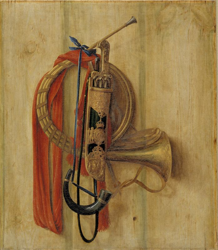 Trompe l'Oeil with Christian V's equipment for Riding to Hounds | Cornelius Norbertus Gijsbrechts | 1671 | Statens Museum for Kunst | CC0