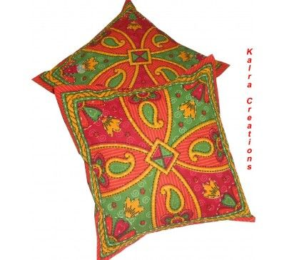 """#Nice #2Pcs #Indian #Handmade #Kantha #Ethnic #Work #Pillow #Cushion #Cover #Case 16"""" #Home #Decor"""