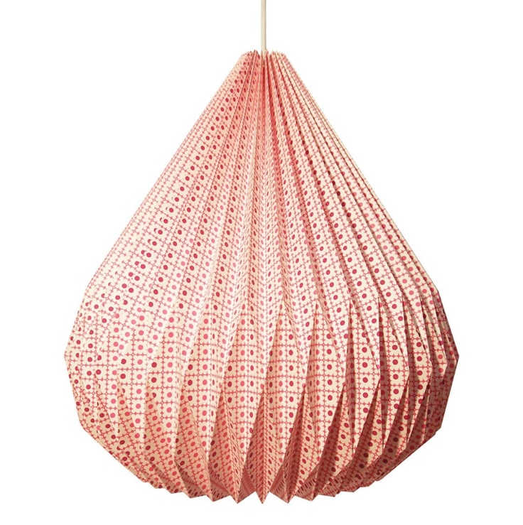 This paper light looks completely made from origami paper folding techniques to make a 3D shape from folds of paper to create this bulb shaped lampshade. I like this because it is made completely from paper, it would be translucent and would be very light. It is also very colourful as you could use any colour of paper.