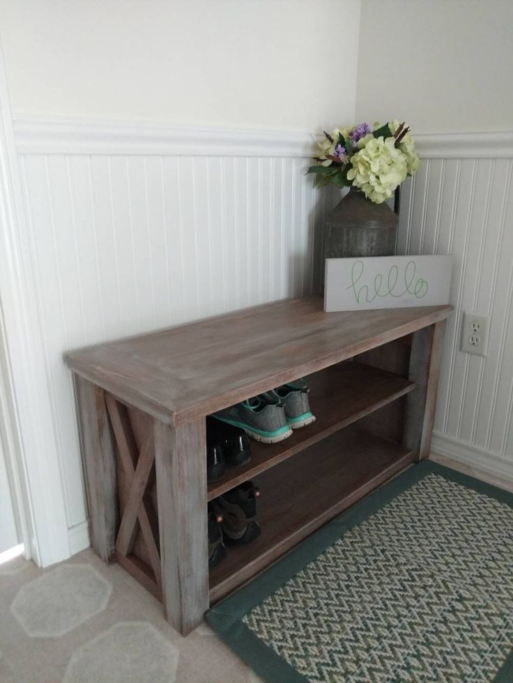 Rustic Entry Bench, Shoe Storage, Shelves, Modern Farmhouse Entryway  Furniture, Distressed X