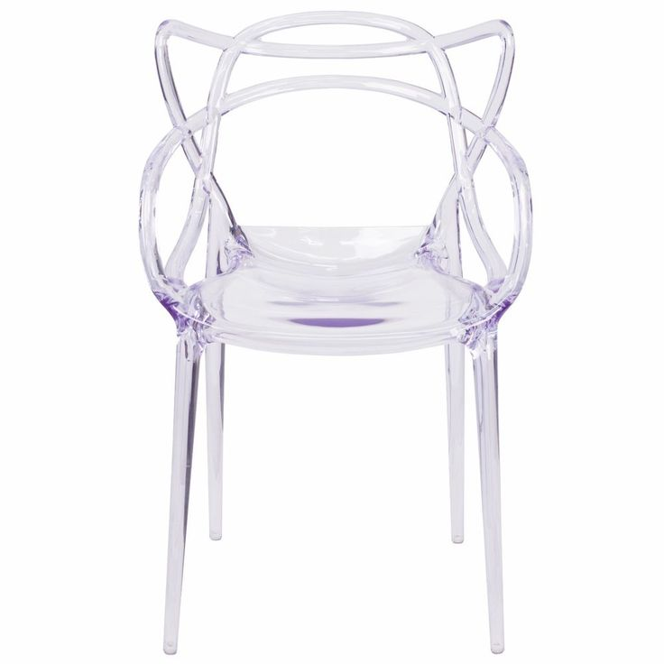 (Set of 2) Modern Ghost Dining Patio Side Chairs Transparent Clear Acrylic   | eBay