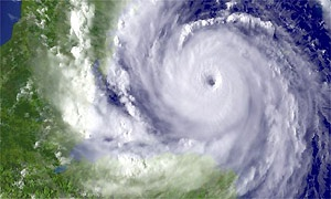 A satellite image showing Hurricane Dean heading towards Mexico's Yucatan peninsula