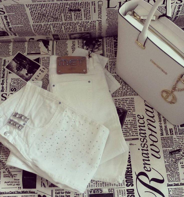 #white jeans with swarovski #met jeans