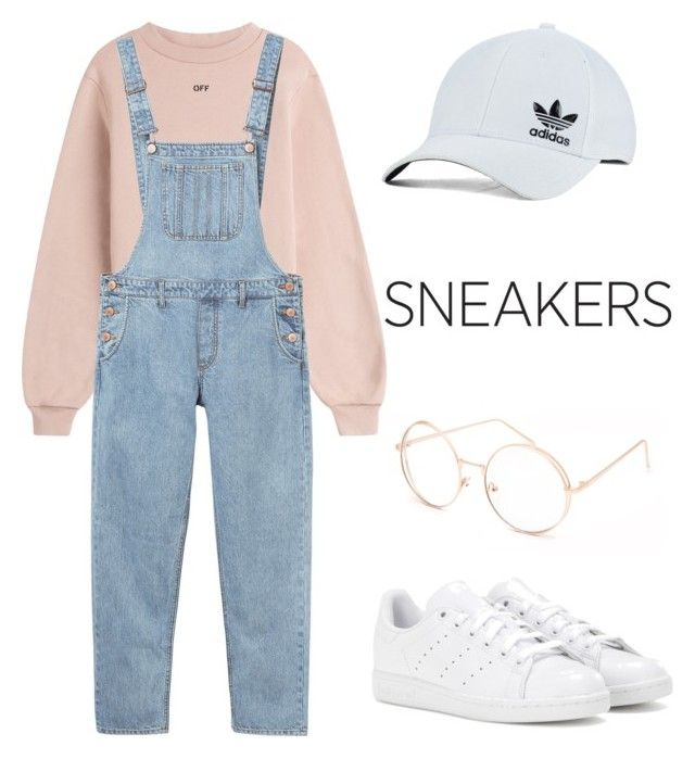 """""""White sneakers outfit"""" by trishsa on Polyvore featuring adidas, adidas Originals, Off-White, Monki and Full Tilt"""