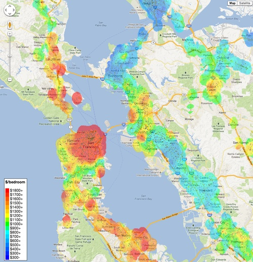 For Rent San Francisco Bay Area: Rent Heat Map Of The Bay Area.