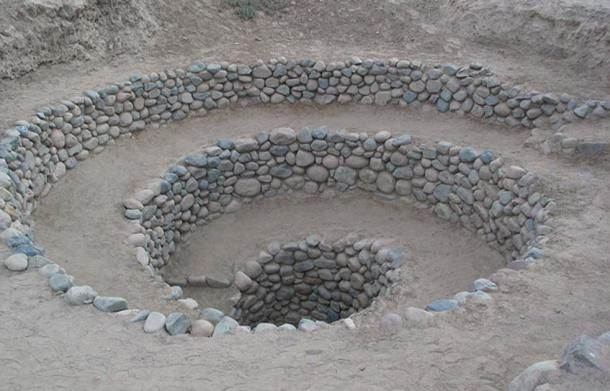 Aqueducts and manmade wells built about 1,500 years ago in Peru by the Nazca people are still in use today and supplying water for daily living and irrigation to people in desert areas near the modern