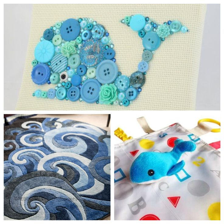 Whale button art, wave rug and a whale lovey from @babyjackco. PERFECT for a whale themed nursery.