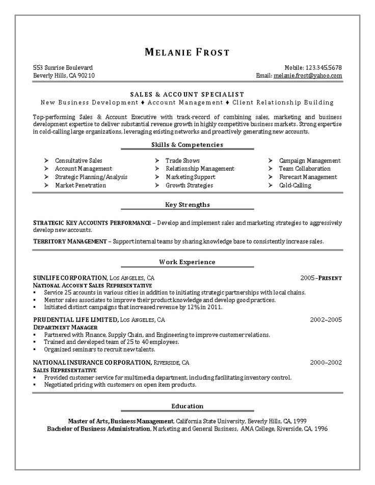 7 best resume images on Pinterest Job resume, Resume and Resume - resume for sales representative