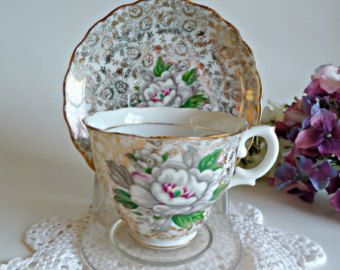 Theekopje en schotel Vintage Queen Anne Fine Bone China