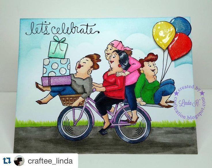 Pedal Pushers Set (Sku#4238) Art Impressions Girlfriends Biker Babes ... handmade card.gi