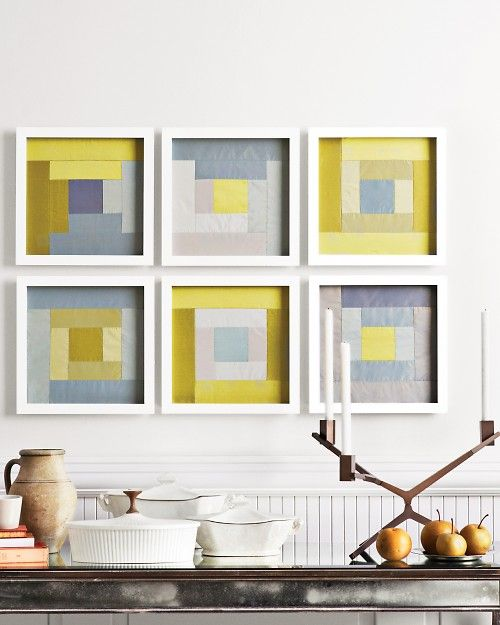framed quilt squares: Ideas, Frames Quilts, Quilts Squares, Framed Quilts, Quilts Blocks, Log Cabins, Quilt Blocks, Martha Stewart, Logs Cabins Quilts