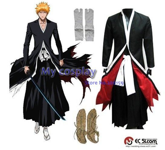 Anime Bleach Ichigo Kurosaki Mens Bankai Cosplay Costume For Men Clothing Halloween