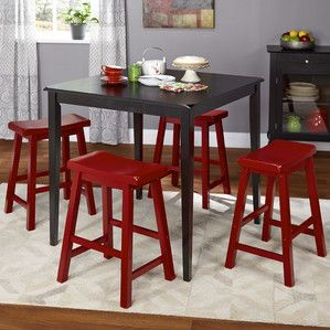 Simple Living Belfast Saddle Counter Height Set Black And Red