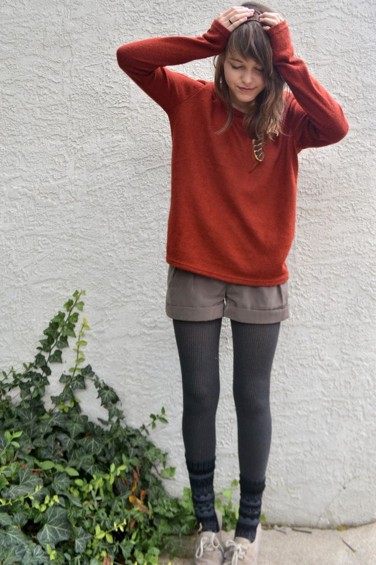 shorts and tights with a sweater