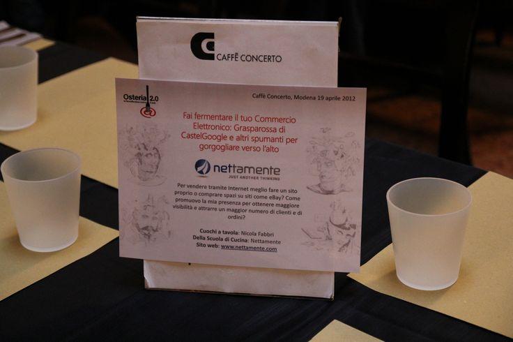 """Osteria 2.0 - Edizione 2012. La """"Cantina"""" di Nettamente: """"Fai fermentare il tuo Commercio Elettronico: Grasparossa di CastelGoogle e altri spumanti per gorgogliare verso l'alto""""."""