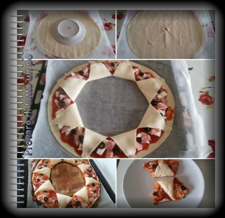 Ghirlanda di pizza: La pasta sfoglia, farcita con pomodoro e mozzarella o con quello che desiderate voi, si trasforma in una ghirlanda per rendere ancora più bello il Natale.
