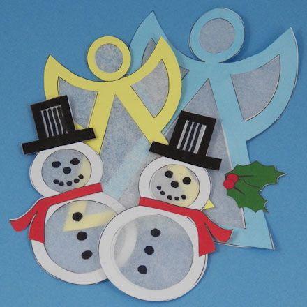 Snowman and angel shaped suncatchers for Christmas