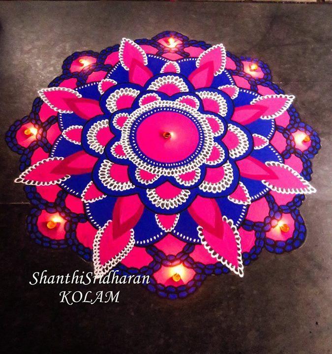 #mandala#pink#blue#round#circle#kolam#rangoli