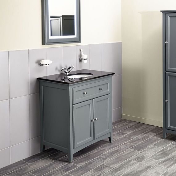 Savoy Charcoal Grey 790 basin unit - with Granite top and basin image 1