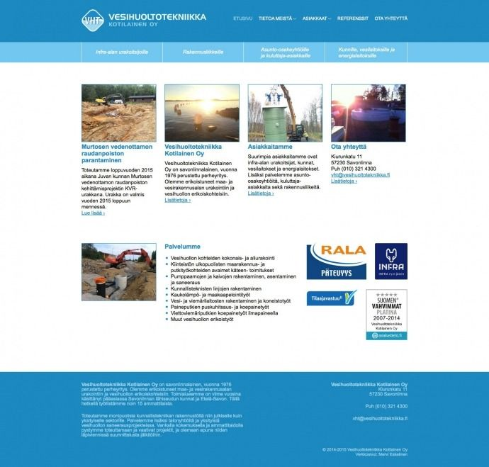 Web design and development, Vesihuoltotekniikka Kotilainen Oy -- Mervi Emilia