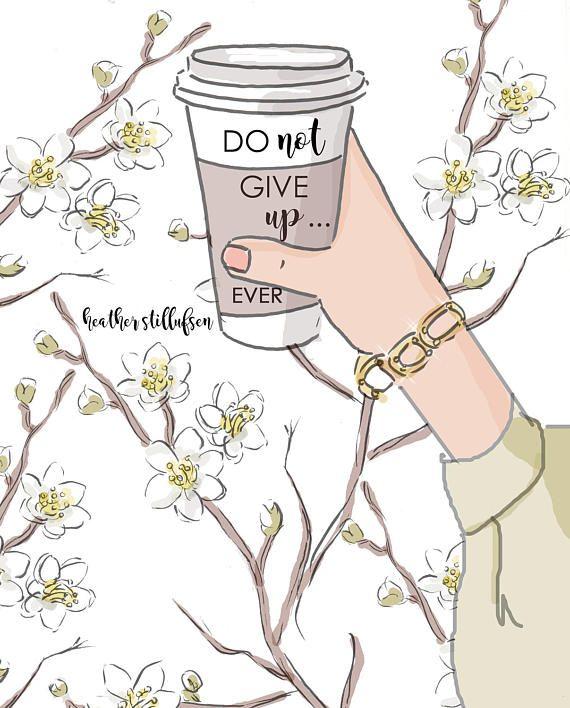 Doen niet ooit Give Up kunst van de koffie