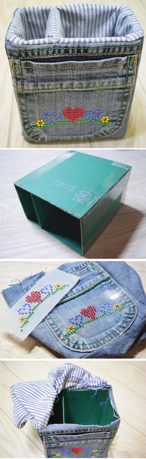 Denim Storage Bags from old jeans.  http://www.handmadiya.com/2016/01/denim-storage-bags.html