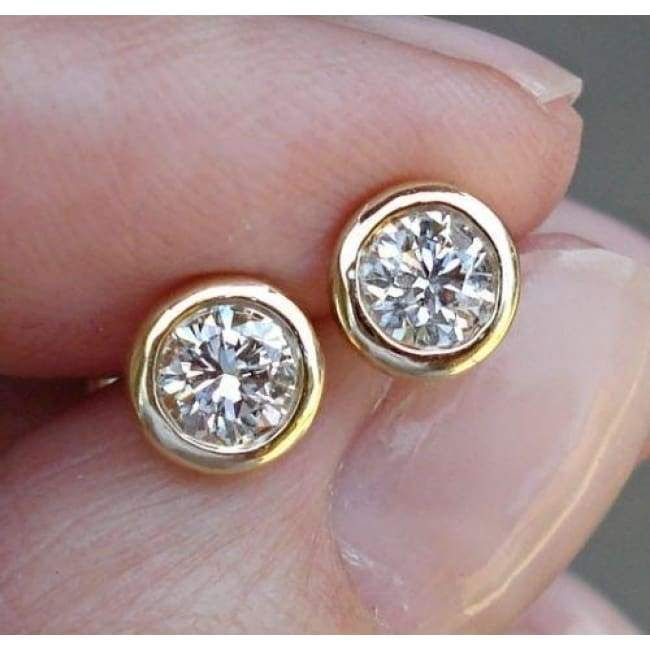 Luxinelle Wardrobe Classic Diamond Stud Earrings 14K Minimalist Jewelry – Bezel (White, Yellow or Rose Pink Gold)
