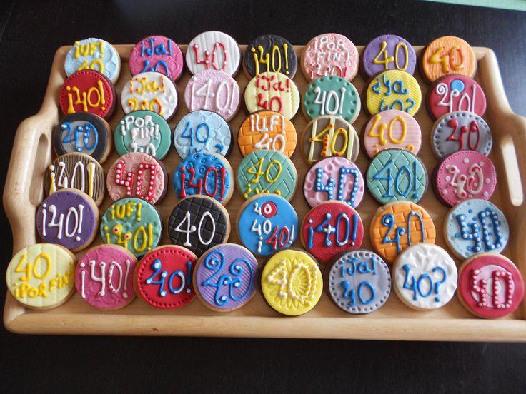 Galletas 40 cumpleaños (fondant y glasa)