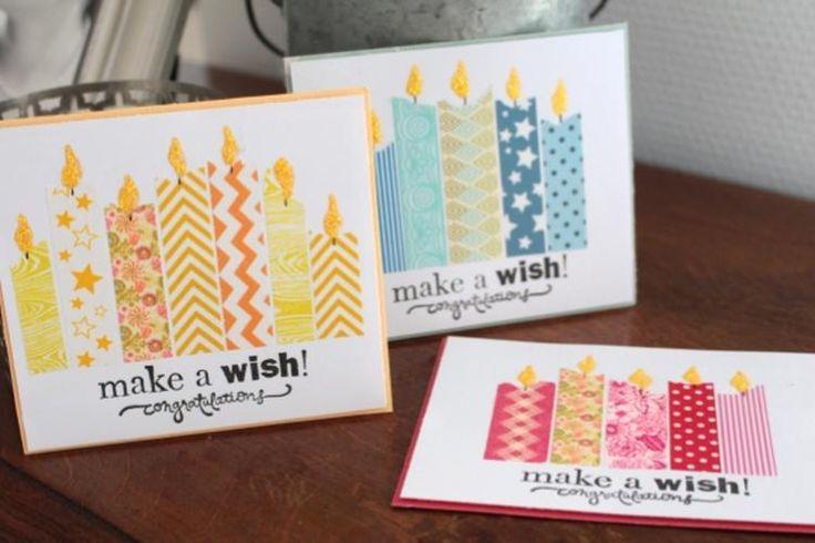 Tolle Geburtstagskarte zum selber machen und total einfach. Alles was man dafür braucht ist Papier, Washi Tape und einen Stift.