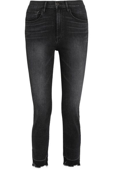 3x1 - W4 Shelter Straight Cropped Distressed High-rise Jeans - Charcoal