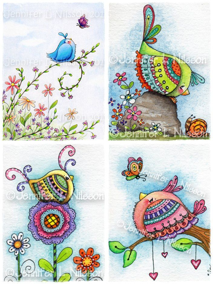 Set 4 Assorted Whimsical Bird Illustrated Art Note Cards with Envelopes. $6.00…
