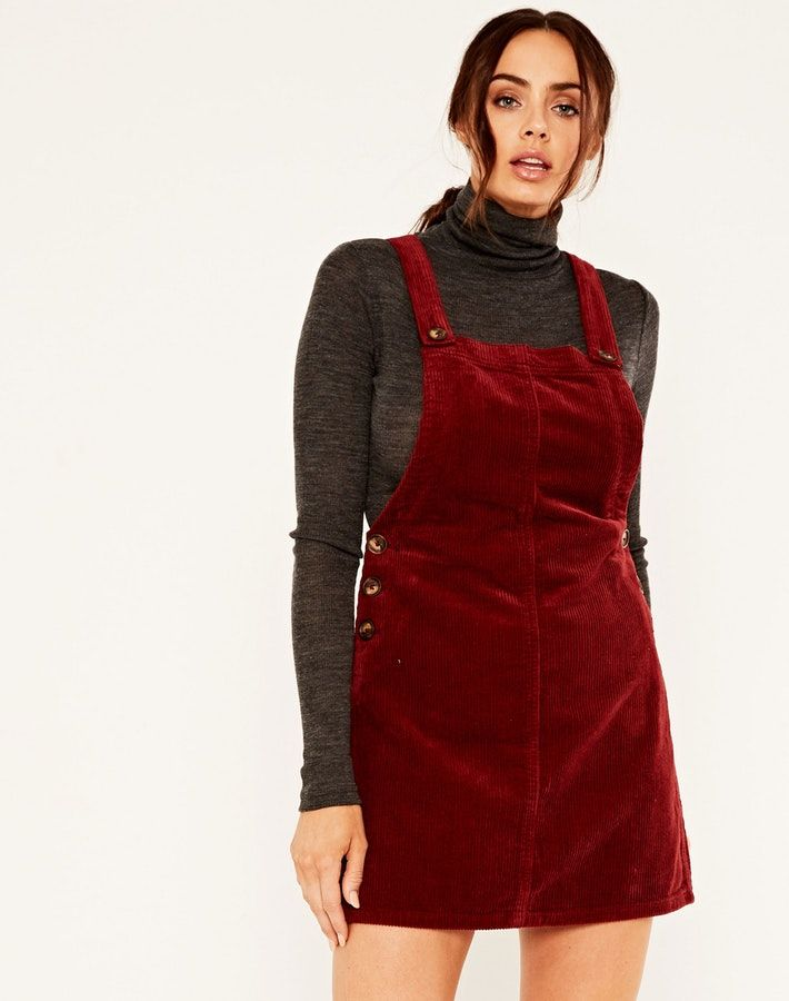 141ac71857f Corduroy Pinafore Dress Holly Berry
