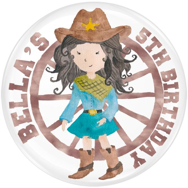 Cowgirl Personalised Birthday Party Badge #913