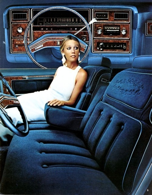 "Ford LTD :: 70s car ad art... Ours had brown ""pleather"" seats that burned the sin out of your legs when you were wearing shorts on a hot summer day."