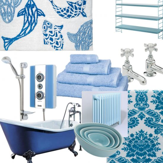 Beautiful bathroom blues Choose blue for bathrooms and you can't go wrong...