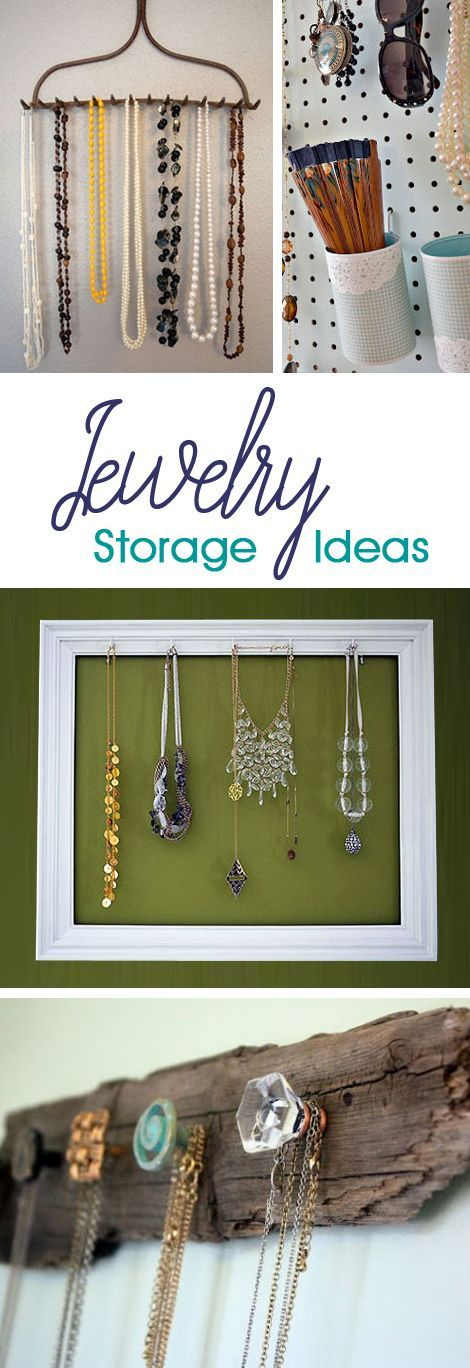 Creative ideas to transform a picture frame, piece of wood, or even a rake head into a beautiful necklace holder or jewelry display.