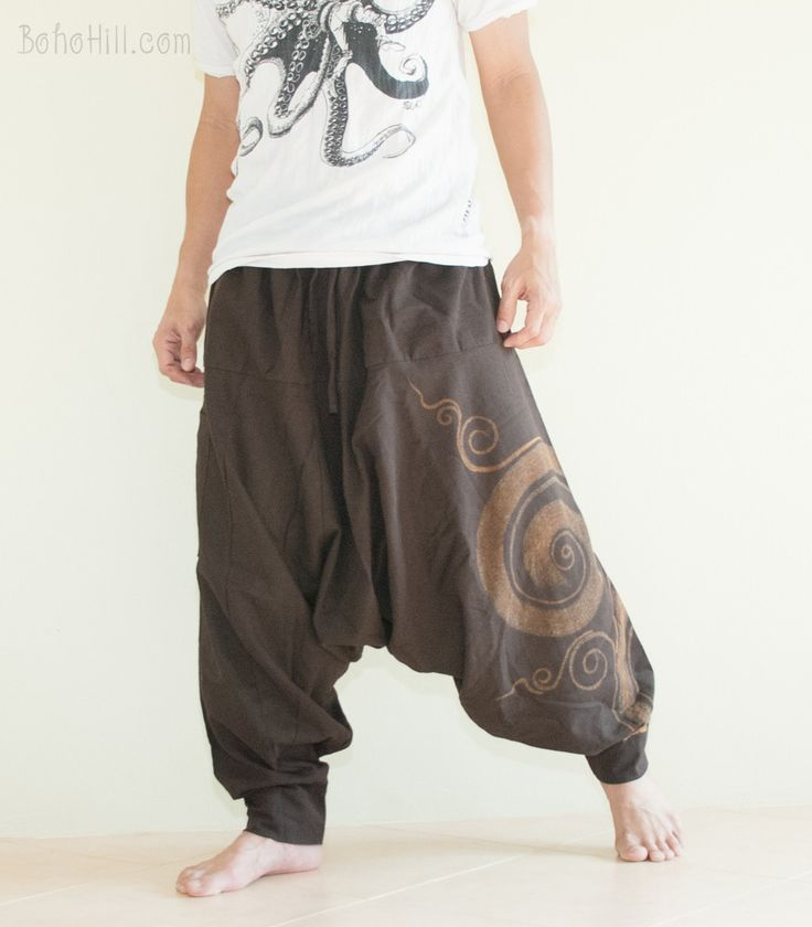 Baggy Harem Low Crotch Unisex Pants Kanok Pattern Hippie Hobo Style (also in Black)