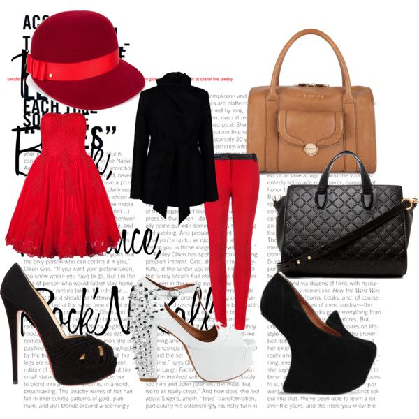 """Red, Black, Romance, Rock'N'Roll"" by tobiashansen on Polyvore"
