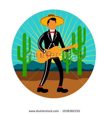 Icon retro style illustration of a Mexican mariachi playing, strumming the guitar wearing sombrero in the desert with saguaro cactus and mountains set inside circle on isolated background.  #mariachi #icon #illustration